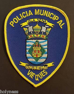 Vintage Puerto Rico Police Patch / Policia Municipal / Vieques Pr