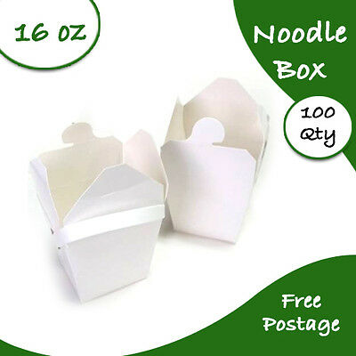 Noodle Boxes White Cardboard 16 Oz 100 pc Large Chinese Party Noodle Box Bulk