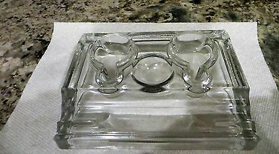 Antique Vintage Clear Glass Double Inkwell & Pen Tray Stand - Awesome!