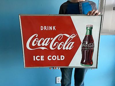 Original 1950's Coca Cola Soda Pop Advertising Sign W/ Bottle Not Oil Porcelain!