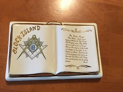 Vtg Block Island RI Rhode Island Freemason Lords Prayer Porcelain Book Souvenir