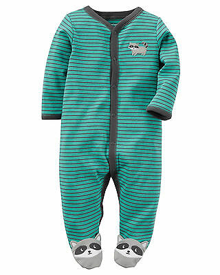 Carters Newborn 3 6 9 Months Raccoon Sleep & Play Baby Boy Clothes Footie Cotton