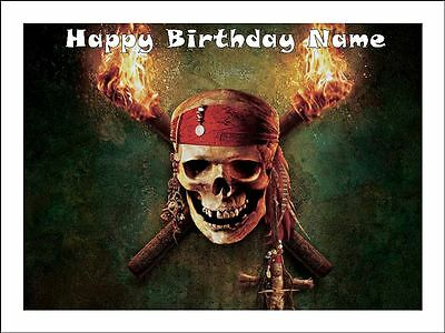 PIRATE SKULL A4 Edible Icing Birthday Cake Party Decoration Topper #1