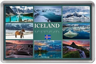 ICELAND FRIDGE MAGNET NEW SOUVENIR HOLIDAY (REF DFICE2) 70x45mm FLAG