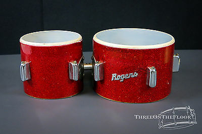 1960s Rogers Red Sparkle Bongos : 6 & 8 : Vintage Cleveland Bread Butter Lugs