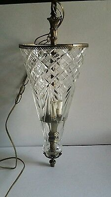 Antique Vintage Crystal Glass Ceiling Light Fixture Foyer Small CHANDELIER Rare