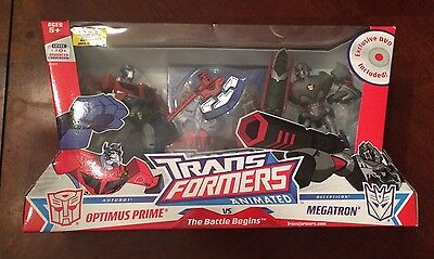 Transformers Animated OPTIMUS PRIME vs MEGATRON new in package DVD Battle Begins