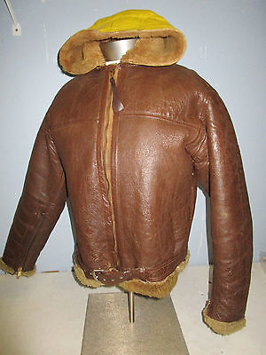 Wwii Original Raf Irvin Coastal Command Leather Flight Jacket With Yellow Hood