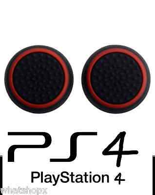 2 X Black Red Silicone Thumb Stick Grip Cover Caps Sony PS4 Analogue Controller