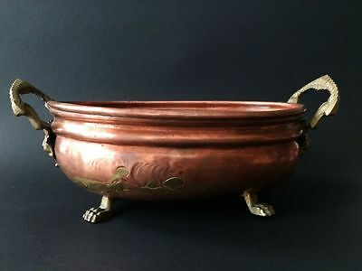 Copper-Brass Footed OVAL Serving Bowl