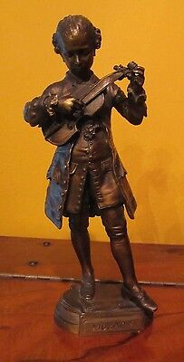 Bronze of Mozart tuning violin by French Artist Jean-Louis Gregoire 19th century