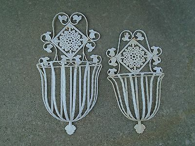 2 Vintage Heavy Iron Shabby Wall Plant Holders Hangers Baskets Sconce