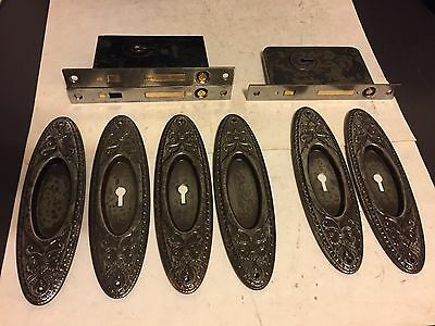 2 Sets Antique Arts Craft Deco Victorian Steel Pocket Door Plates Pulls Locks