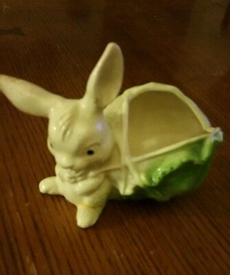 Bunny planter with lettuce vintage