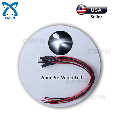 10Pcs 2mm White Pre-Wired Round Top Water Clear Light DC 9-12v LED Diodes 20CM