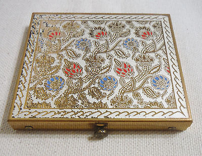 1950's DORSET FIFTH AVE Gold Floral Powder COMPACT, Puff & Screen
