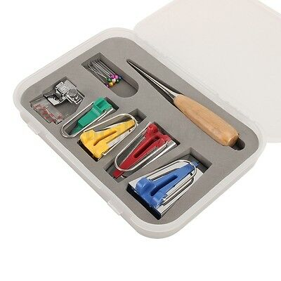 60 Pcs Bias Tape Maker Kit for Sewing & Quilting Awl and Binder Foot & Case New