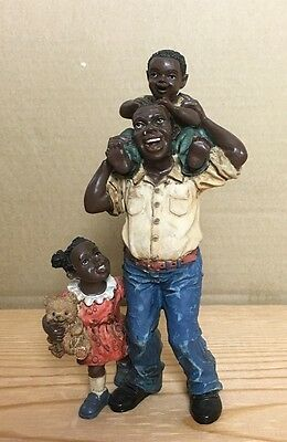 Black Americana African American FATHER AND CHILDREN Resin Statue Figurine