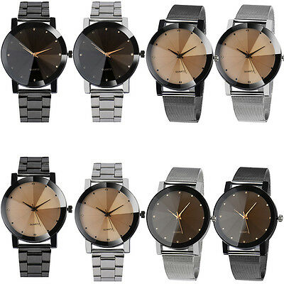 Luxury Men Women Business Stainless Steel Watch Crystal Quartz Sport Wrist Watch