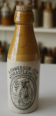 The Doctors Stout, Newcastle on Tyne, Stoneware Bottle with Bicycle Transfer