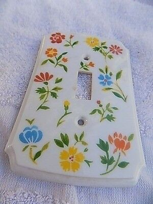 Multi-Flower Design on White Duplex Receptacle Face Plate Cover