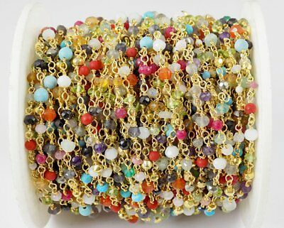 10 Ft Mix Multi Gemstone Faceted Rosary Beaded Chain 24k Gold Plated 2-4mm Bead