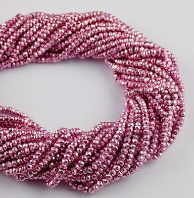 5 Strand Pink Coated Pyrite Gemstone Faceted Rondelle Beads 3.5-4mm Beads 13""