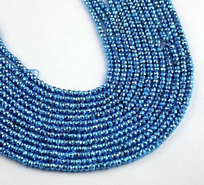 "5 Strand Swiss Blue Topaz Pyrite Faceted Gemstone Rondelle Beads 3.5-4mm 13""Long"