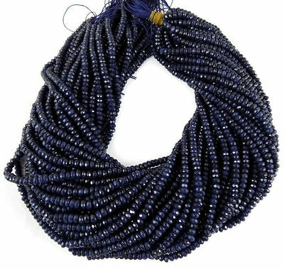 """5 Strands iolite Chalcedony Gemstone Faceted Rondelle Beads 4mm Bead 13.5"""" Long"""