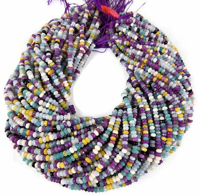 """5 Strands Mix Chalcedony Faceted Rondelle Gemstone Beads 4mm Bead 13.5"""""""