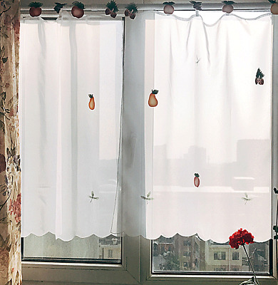 2 X White Lace Kitchen/Cafe/Door Curtains with Fruit/Flower pattern