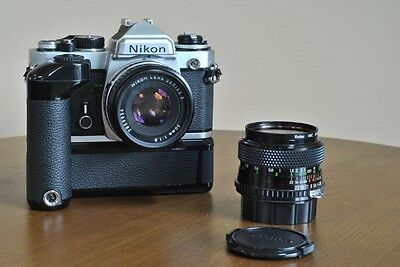 EX! Nikon FE Film Camera with Two Lenses