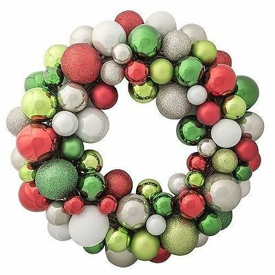 "22"" Shatterproof Ornament Wreath, Classic Christmas Decoration"