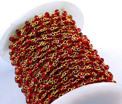 10 Feet Red Hydro Seed Beads Chain 3-4mm 24k Gold Plated Beaded Chain