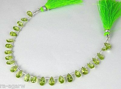 """1 Strand Natural Peridot Faceted Pear Drilled Gemstone Briolette 5X7mm 8"""" Long"""