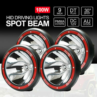 100W 9inch HID Driving Lights 12V Spotlights Off Road 4x4 Jeep RED TWO PAIRS