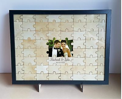 Wedding Jigsaw Puzzle Guestbook alternative, wooden, rustic, engagement, 60 pcs