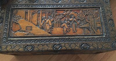 Antique Vintage Carved Asian  Chest / Blanket Storage Box PRICE REDUCED!!