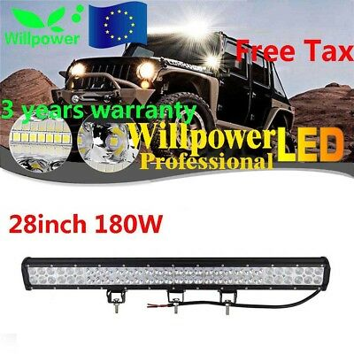 28inch 180W LED WORK LIGHT BAR FLOOD&SPOT COMBO OFFROAD SUV 4WD Car Driving Lamp