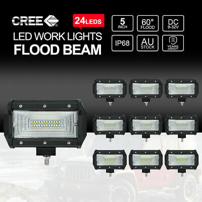 10x 5 inch 240W CREE Flood LED Work Light Bar Off Road Driving Fog Lamp 4""