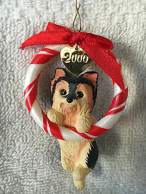Yorkie Puppy Dog Christmas Ornament in Peppermint Wreath 2000