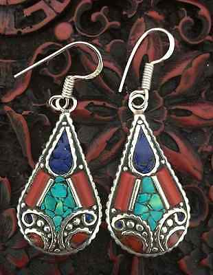 Handmade Silver Plated Tibetan Style Turquoise, Coral and Lapis Earring