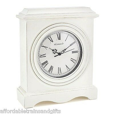 clock shabby  chic mantel white ornate carage clock new boxed 12 hour face