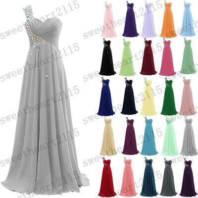 New Long Chiffon Evening Formal Party Ball Gown Prom Bridesmaid Stock Size 6-22