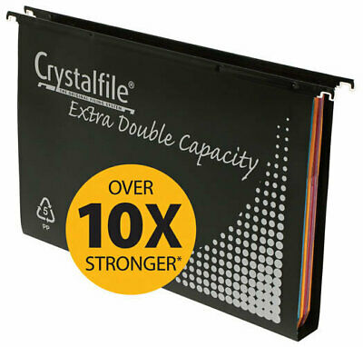 Crystalfile Extra Double Capacity Suspension Files With Tabs & Inserts - 10 Pack
