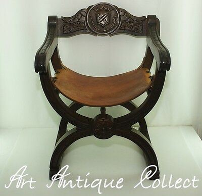 Solid Cross Frame Scissors Chair Gothic Throne leather seat Dantesca Savonarola • £300.00