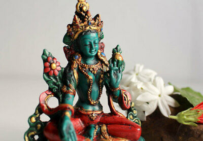 Turquoise and Coral Toned Resin Green Tara Statue 5""