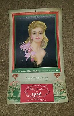 Vintage 1946 Conoco Oil Pin Up Advertising Calendar Eastern Penn York PA