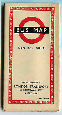 London Transport Bus Map Central Area January 1951 - FREE UK POSTAGE