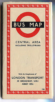 London Transport Bus Map Central Area including Trolleybuses 1955 - FREE UK POST